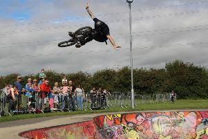 International BMX rider Jay Cowley in action at Mayflower Park