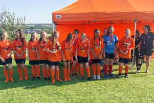 Rugby Borough Under 14s at the first girls' Festival of Football at Kilsby Lane at the weekend Pictures by Brian Dainty