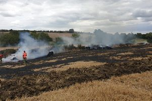Firefighters tackled a blaze at a field in Southam which involved around 15 hay bales yesterday (Monday) Photo by Southam Fire Station.