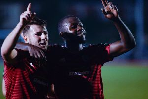 Substitutes Ollie Pearce (left) and Marvin Armstrong struck in Worthing's FA Cup replay win over Hastings United. Picture by Marcus Hoare