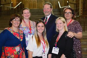 From left, Sarah Dodsworth, Alison Stoneham, Charlotte Levitt, Jeremy Benton, Shelley Pearce, Maxine Carr at a Royal College of Nursing event in Westminster Picture: Steve Baker