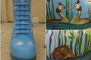The Nene Valley Boot is covered in images from the nature park, including reeds, grebes and and otter