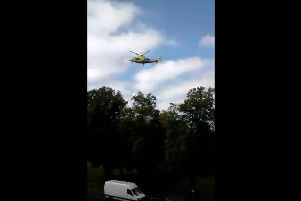 The air ambulance lands at the Racecourse on Kettering Road, Northampton. Photo: Critical Mass Northampton