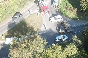 An aerial shot of the collision. Photo: Ian Phillips