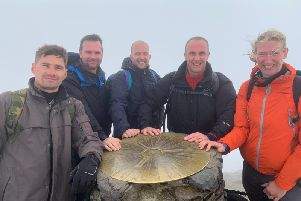 The University of Northampton police team at the top of Snowdon. Photo: Northamptonshire Police
