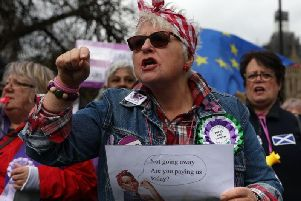 Campaigners outside the Houses of Parliament earlier this year.