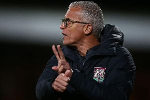 Keith Curle issues instructions to his team. Picture: Pete Norton
