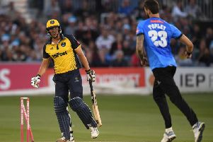 Reece Topley takes a Blast wicket against Glamorgan for Sussex / Picture: Getty Images