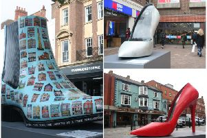 Three giant shoes in Northampton town centre have been taken away because of vandalism...