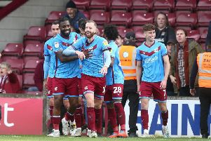 Kevin van Veen's celebration did not go down well with Cobblers fans. Picture: Pete Norton