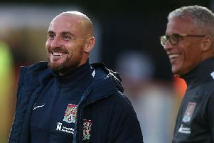 Alan McCormack with manager Keith Curle