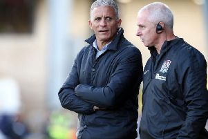 Keith Curle in conversation with David Kelly. Picture: Pete Norton