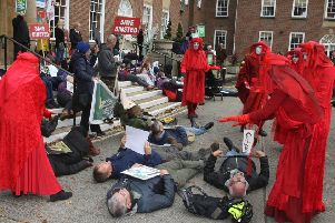 DM19104466a.jpg. Arundel bypass protesters at County Hall. Photo by Derek Martin Photography. SUS-191021-181804008