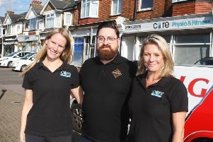 Amy Spriggs and Cathy Atkinson, owners of Core Physio and Fitness, with John Azzopardi, Brooksteed Alehouse manager, by the South Farm Road parade where the public defibrillator will be located. Picture: Derek Martin DM19104738a