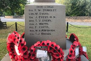 William, Tom and Jack Every are honoured on Roade's war memorial. Photo: Roade Local History Society