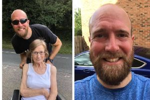 Paul and his mother. Right: In training.