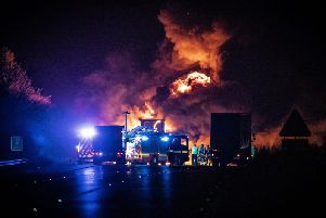 The scene of the fire on the M6 in Warwickshire. Photo by Joel Goodman