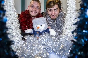 Kris Lewis and Jayson Farmer who access the Hope Centre's day centre are helping to kick-start the Chron and Hope Centre's Christmas present appeal. Picture by Kirsty Edmonds.