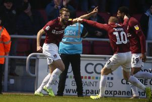 HOWZAT?! Andy Williams went with a cricket-style celebration after scoring against Crewe. Picture: Pete Norton