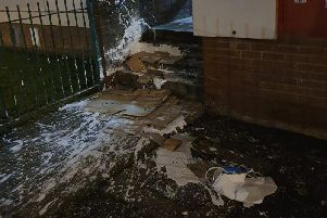 The mess caused outside St Stephen's House in Northampton by the paint being dropped from a window