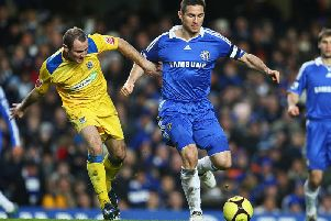 Alan McCormack battles with Frank Lampard during Southend United's FA Cup clash with Chelsea at Stamford Bridge in 2009