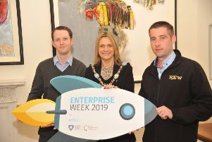 Lord Mayor of Armagh City, Banbridge and Craigavon Councillor Mealla Campbell and Samuel Marshall, business advisor, Banbridge District Enterprise with new business start up Ross Electrical and Wholesale Ltd, run by Ross Curran which stocks a range of electrical and household appliances, open to the trade and public in Banbridge