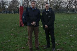 England Rugby U18 manager Dave Penberthy with Moulton College facility manager Simon Greener