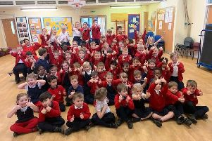 """The winning pupils from Little Houghton, whose song """"It's Christmas"""" took third place in a national radio competition."""