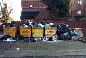 The bins at Auctioneer's Court before they were collected last week
