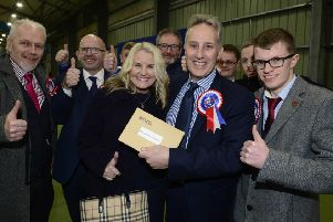 Ian Paisley re-elected as the MP for North Antrim, pictured after winning his seat at the count centre in Meadowbank Sports Arena, Magherafelt. 'PPicture By: Arthur Allison/Pacemaker Press