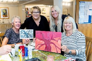 CancerWise art mentor Sue England with Juliet Ansell from CALA Homes, CancerWise centre manager Lisa Joy and Carol Hawkins