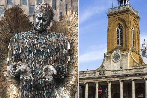 The 27-foot tall statue made from over 100,000 confiscated knives is coming to Northampton town centre.