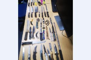 The knives that were collected in the amnesty bin.