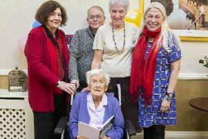 Pictured from left to right: Family friends, Mary Lees and Andy Tate with Vera Ledwith (centre), daughter Susan Blake and close friend of the family Glynis Holland. Picture by Kirsty Edmonds.