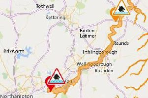 Map shows where flood warnings are in force across Northamptonshire on Wednesday morning.