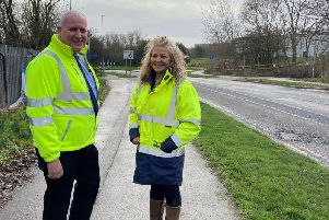 Sara Homer, Brackmills BID CEO, and Andrew Leighton, community engagement'manager for Northamptonshire Highways at Northampton Borough Council.