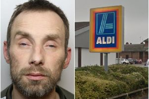 Nicholas Dunne responded to an Aldi worker's request to hand over his shoplifted goods by stabbing him in the leg.