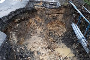 Part of the road collapsed