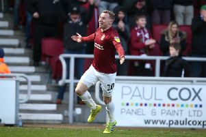 Nicky Adams celebrates his second goal of the season. Picture: Pete Norton