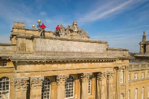 Rope access technician Tom Brennan came face to face with the 30-tonne marble bust of King Louis XIV, looted by the Duke of Marlborough in 1709, during an exterior inspection of Blenheim Palace.