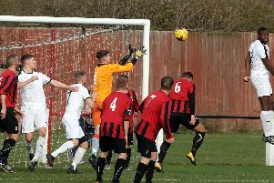 Action from Raunds Town's NFA Junior Cup clash with Daventry Town Reserves last weekend. The Shopmates are now under new management after Ben Watts was appointed this week