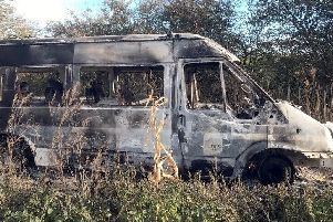 Tealby School bus was found burnt out in a field between Waddingham and Redbourne