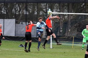Action from the NFA Junior Cup quarter-final between Kettering Nomads and Rushden & Higham United. Picture by Alison Bagley