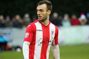 Shane Byrne gave Brackley Town the lead at Hereford