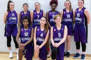 The Titans face the camera ahead of their 63-41 win at Sheffield Hatters II in the U16 Girls North Regional League