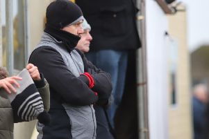 Marcus Law watches on during Kettering Town's 1-0 home success over Royston Town. Pictures by Peter Short
