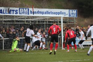 Goalmouth action from Kettering Town's 1-0 home success over Royston Town at the weekend. Picture by Peter Short