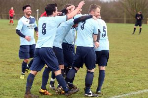 Kettering Nomads celebrate after Darren Capps gave them the lead in their NFA Junior Cup semi-final success over Sileby Rangers at Orlingbury Road. Pictures by Alison Bagley