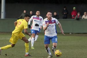 Joe Curtis, pictured in action during last weekends 1-1 draw with Banbury United, is hoping to keep his place in the AFC Rushden & Diamonds team after starting the last two matches. Picture by Alison Bagley