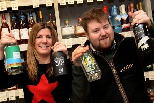 Hannah Lovell and Freddie Ricardo from Slurp Banbury with some of their gins. NNL-190502-113504009